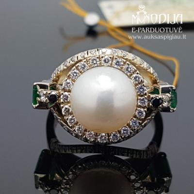 Balto aukso žiedas su briliantais, smaragdais ir perlu