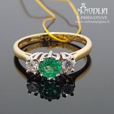 Geltono aukso žiedas su briliantu ir smaragdu