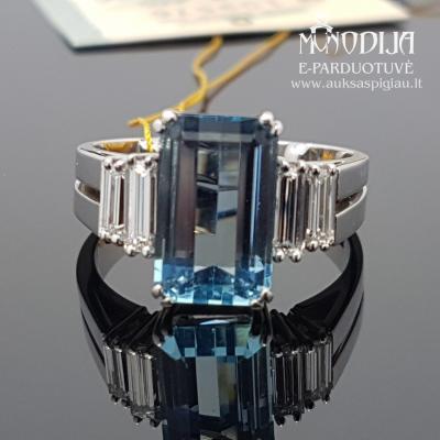 Balto aukso žiedas su deimantais ir akvamarinu