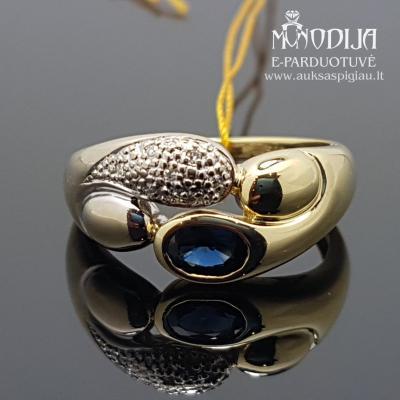 Balto ir geltono aukso žiedas su deimantais ir safyrais