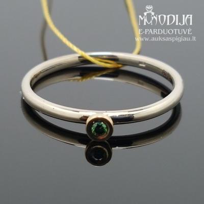 Balto aukso žiedas su žaliu briliantu