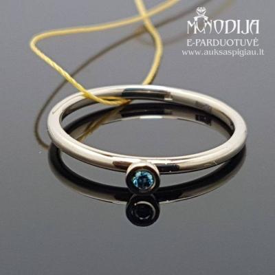 Balto aukso žiedas su mėlynu briliantu