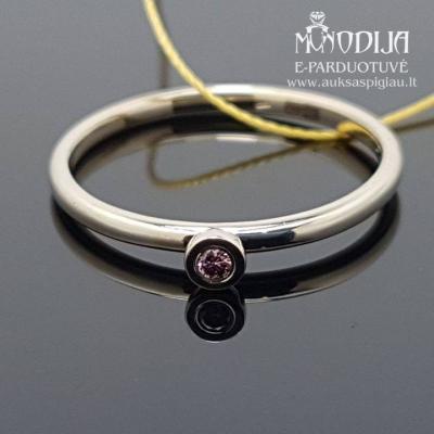 Balto aukso žiedas su rožiniu briliantu
