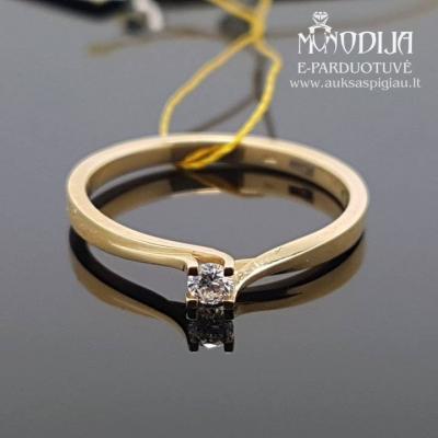 Geltono aukso žiedas su briliantu
