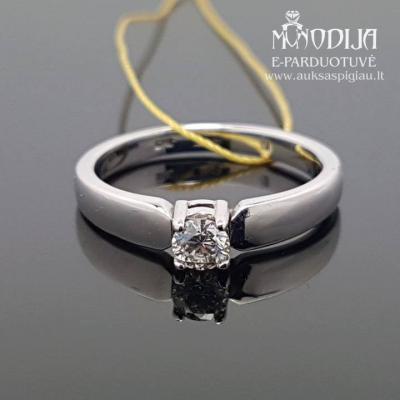 Balto aukso žiedas su briliantu
