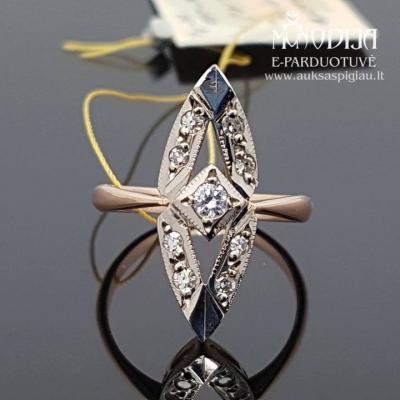 Vintažinis žiedas su deimantais