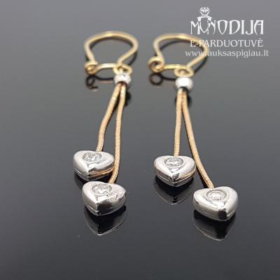 Auksiniai auskarai su širdelėmis