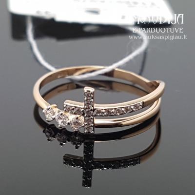 Auksinis žiedas su kryželiu
