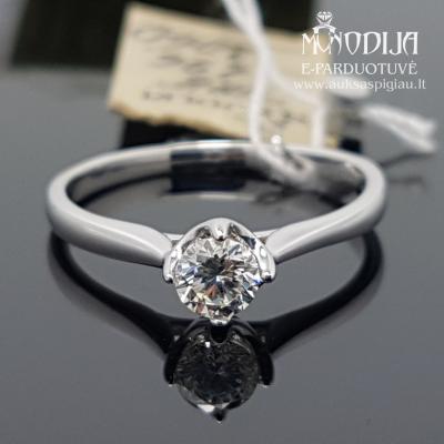 Balto aukso žiedas su briliantais