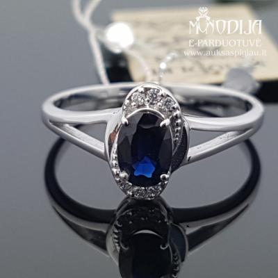 Balto aukso žiedas su briliantais ir safyru