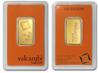 valcambi 20g twenty gram gold bullion bar