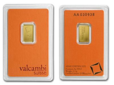 valcambi 2 5 two gram gold bullion bar