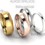 Klasikinis vestuvinis žiedas 3mm auksas baltas 585 spalvos