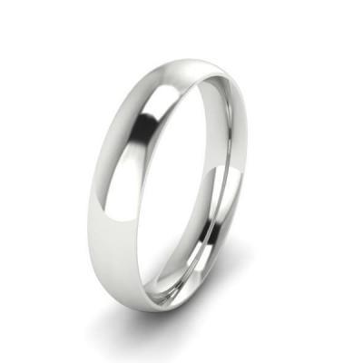 Klasikinis vestuvinis žiedas 4mm auksas baltas 585 3D