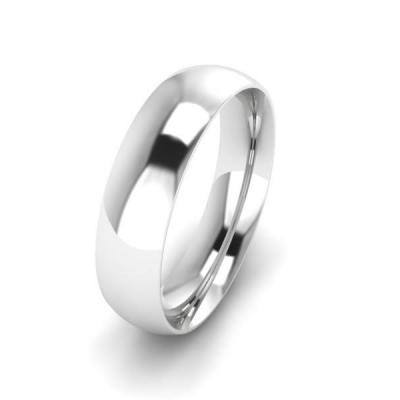 Klasikinis vestuvinis žiedas 5mm auksas baltas 585 3D