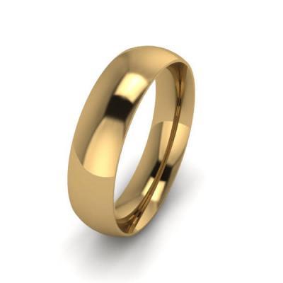 Klasikinis vestuvinis žiedas 5mm auksas geltonas 585 3D