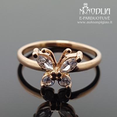 Auksinis žiedas su drugeliu