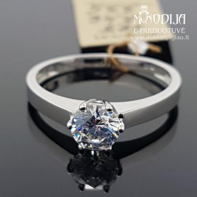 Balto aukso žiedas su akmenuku