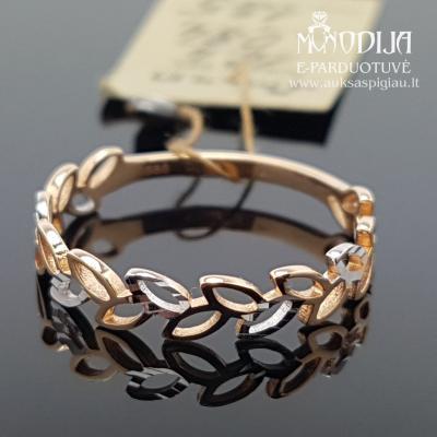 Auksinis žiedas su lapeliais