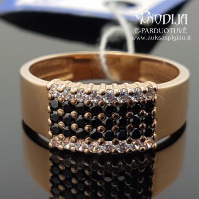 Auksinis žiedas su akmenukais