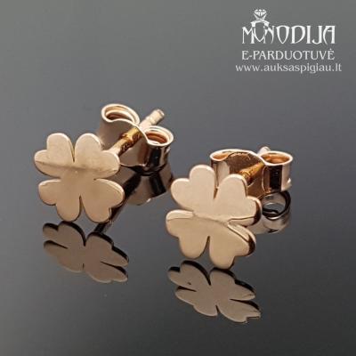 Auksiniai auskarai dobilas