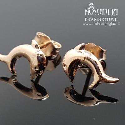Auksiniai auskarai delfinai