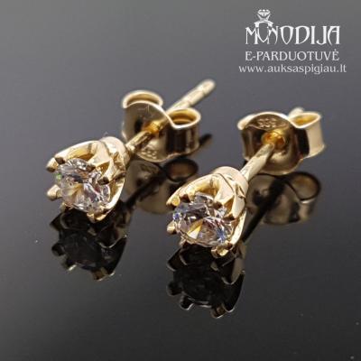 Geltono aukso auskarai su akmenukais