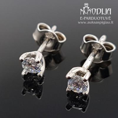 Balto aukso auskarai su akmenukais