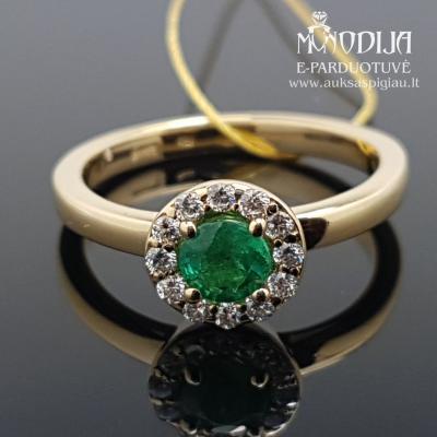 Geltono aukso žiedas su briliantais ir smaragdu