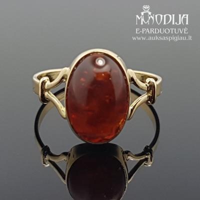 Geltono aukso žiedas su akmenukais