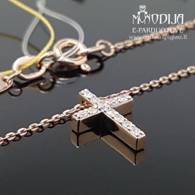 Raudono aukso grandinėlė, kryžiukas su deimantais