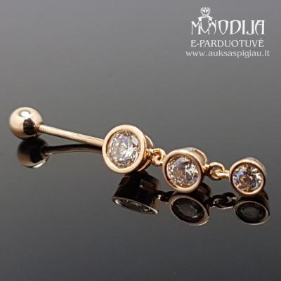 Auksinis auskaras į bambą su akmenukais