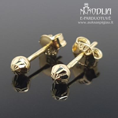 Geltono aukso auskarai burbulai