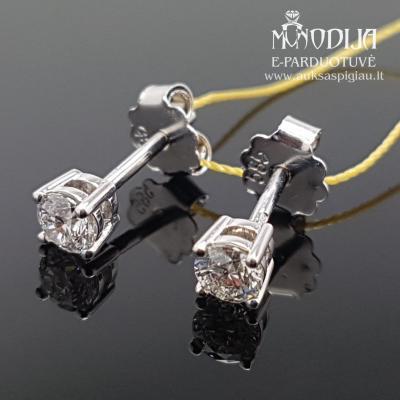 Balto aukso auskarai su briliantais