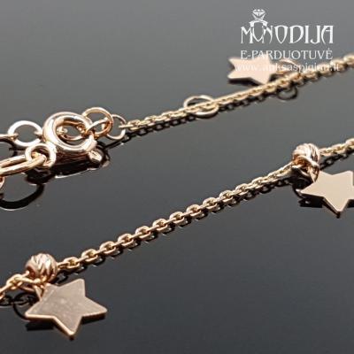 Auksinė grandinėlė ant kojos su žvaigždėmis