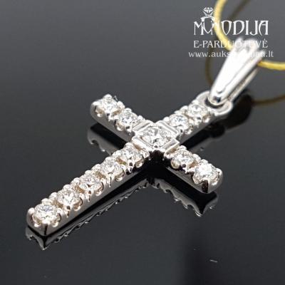 Balto aukso kryžiukas su briliantais