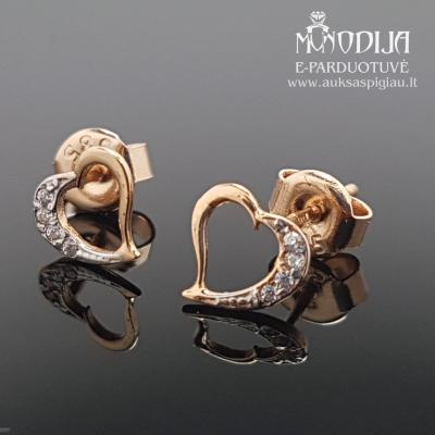 Auksiniai auskarai Širdelės