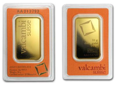 valcambi 50 fifty gram gold bullion bar