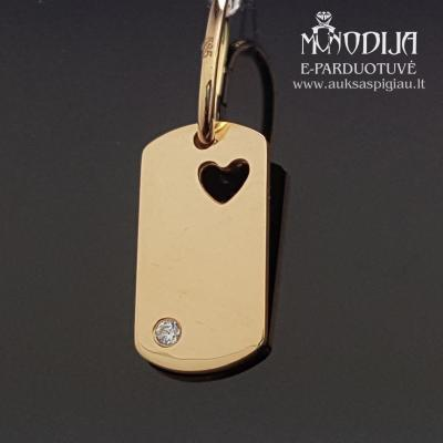 Auksinis pakabukas Plokštelė su širdele ir akmenuku