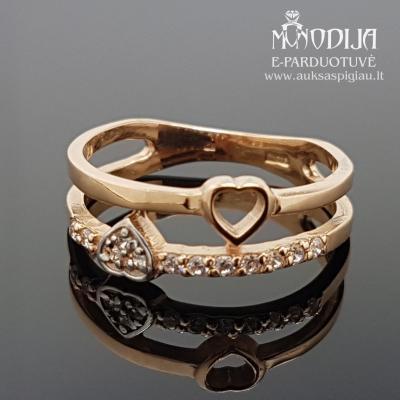 Auksinis žiedas su širdelėmis