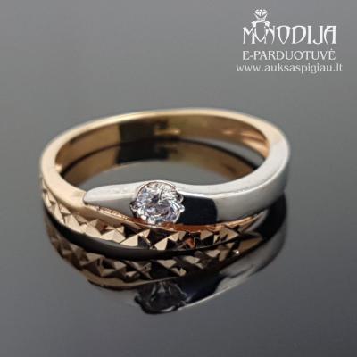 Auksinis žiedas su baltu auksu