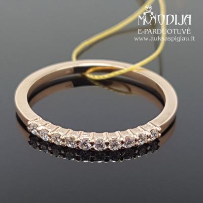 Raudono aukso žiedas su briliantais